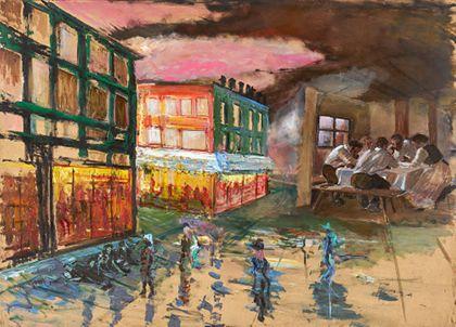 Räumliche Ansicht mit zwei rechteckigen Hauskomplexen und abstrakten Menschenfiguren in grellen Farben und Innenansicht einer ländlichen Stube mit Tisch und Menschen in Brauntönen