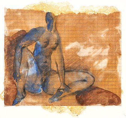 Sitzender weiblicher Akt mit gespreizten Beinen in Blau vor braunem Bildgrund