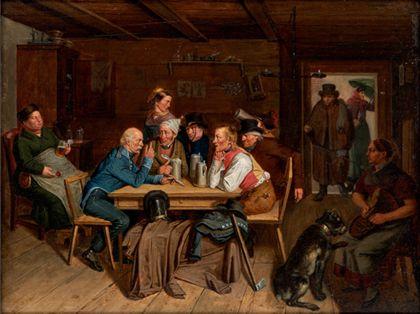 Um einen Wirtshaustisch versammelt sitzt eine Gruppe von Männern mit Bierkrügen. Am linken Bildrand befindet sich eine Frau, welche mit einem Bierkrug am Schoß eingeschlafen ist. Am rechten vorderen Bildrand ist eine Frau mit Hund dargestellt. Ein Paar betritt gerade den Raum.
