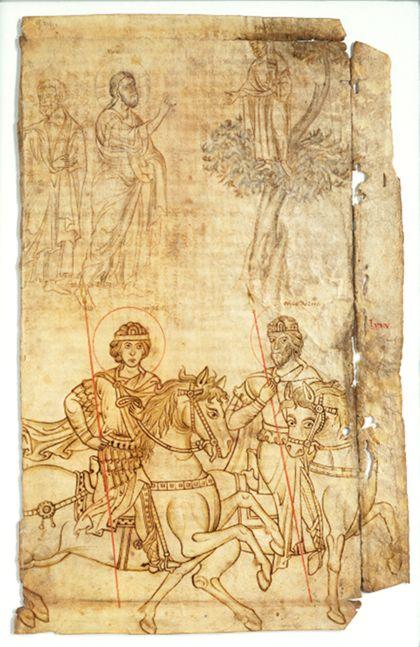 Zeichnungen von Einzelfiguren: Christus und Petrus mit Zachäus in der oberen Bildhälfte. Der heilige Theodor mit Begleiter zu Pferde in der unteren Bildhälfte.