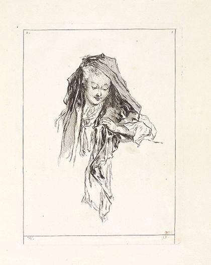Antoine Watteau Buste d'une jeune femme ajustant sa mantille