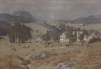 Blick auf ein Hofgut bei Hinterzarten, umgeben von Weiden mit Kühen und der Schwarzwälder Landschaft.