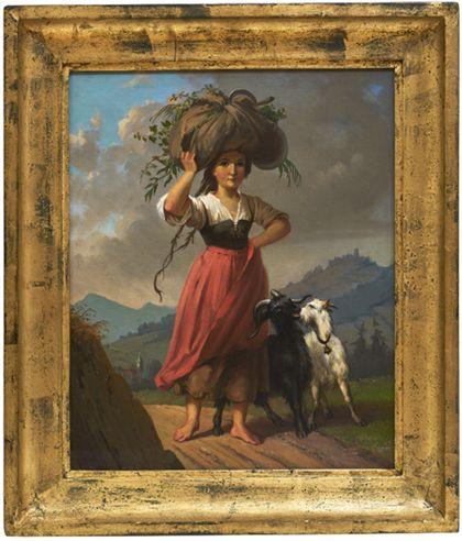 Mädchen, ein Heubündel auf dem Kopf tragend. Daneben eine schwarze und eine weiße Ziege, sich neckend. Golden gerahmt.