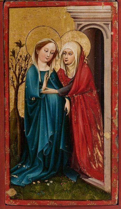 Bildtafel des Staufener Altars mit der Darstellung der Heimsuchung Mariae.