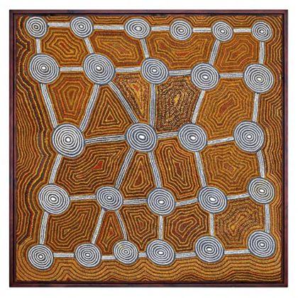 Das Bild zeigt Zeichen, die mit dem geheimen Tingari-Zyklus in Verbindung stehen. Die Kreise auf den Bildern zeigen die Stellen, an denen die Tingari während ihrer Reisen lagerten. Die Linien sind Pfade, die diese Plätze verbinden.