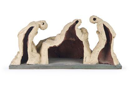 Die Figurengruppe zeigt die Beweinung Christi durch Maria, Johannes und Maria Magdalena, Rückseite.