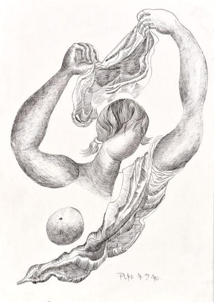 Tuschfederzeichnung eines abstrakten Frauenoberkörpers, ein Tuch über den Kopf haltend