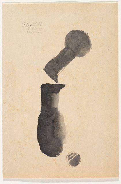 Tuschebild in Schwarz mit zwei abstrakten Gefäßformen