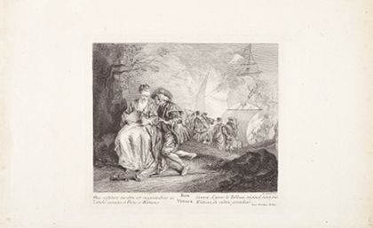 Im linken Vordergrund ist ein Pilgerpaar zu sehen. Der Mann scheint der Frau etwas in Ohr zu flüstern. Im Hintergrund sieht man eine Gruppe von Menschen, die auf ein Schiff gehen.