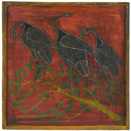 Quadrat- oder Tingatingabild, das drei Vögel auf einem Ast zeigt.