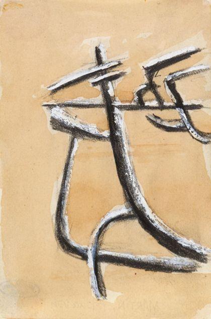 Abstrakte Form aus schwarzen Linien mit weißen Höhungen vor hellbraunem Bildgrund