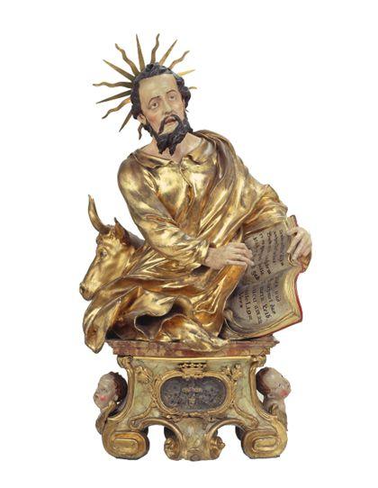 Teils vergoldete Reliquienbüste des Heiligen Lukas auf einem Sockel für die Freiburger Zunft der Maler.