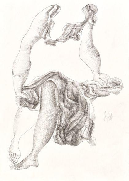 Tuschfederzeichnung einer sitzenden Frau mit Kleid