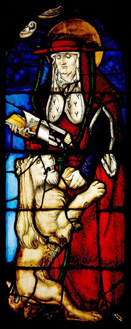 Kirchenfenster mit der Darstellung des heiligen Hieronymus mit dem Löwen.