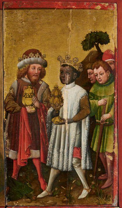 Bildtafel des Staufener Altars: Anbetung der Heiligen Drei Könige, rechter Teil.