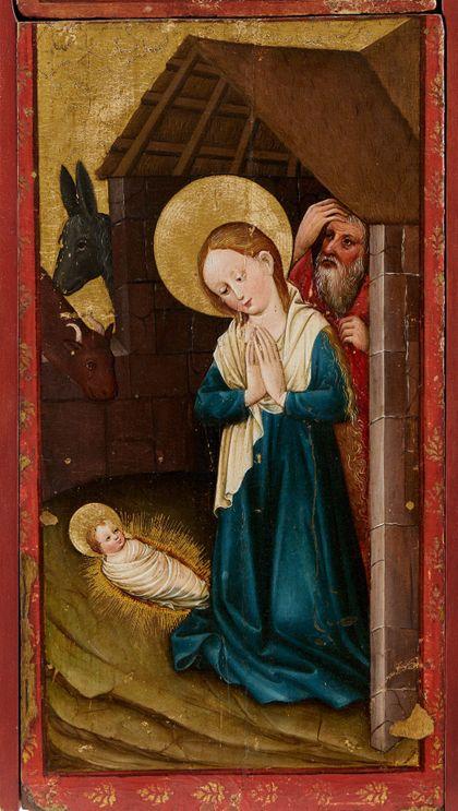 Bildtafel des Staufener Altars mit der Darstellung der Geburt Christi.