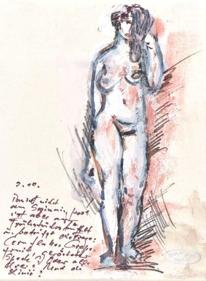 Zeichnung eines stehenden weiblichen Aktes in Frontalansicht mit handschriftlichem Text