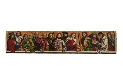 Die Bildtafel in breitem Längsformat zeigt in einer Reihe von Halbfiguren Christus als Weltenherrscher von den Aposteln flankiert. Ansicht ohne Rahmen.