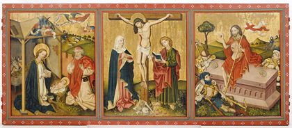 Flügelaltar mit Darstellungen von Mitgliedern des Dominikanerordens und Stationen der Heilsgeschichte. Detail: Mitteltafel mit Szenen der Heilsgeschichte.