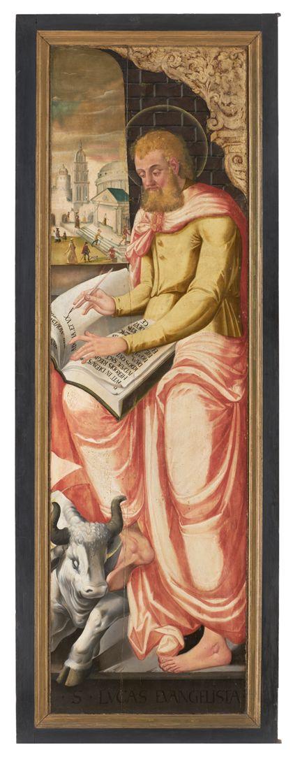 Linker Flügel mit Darstellung des Evangelisten Lukas.