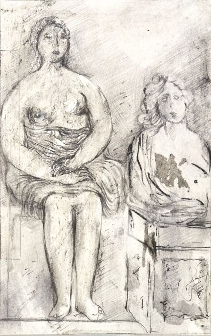 Priska von Martin Seated Woman and Half-Figure on a Pedestal
