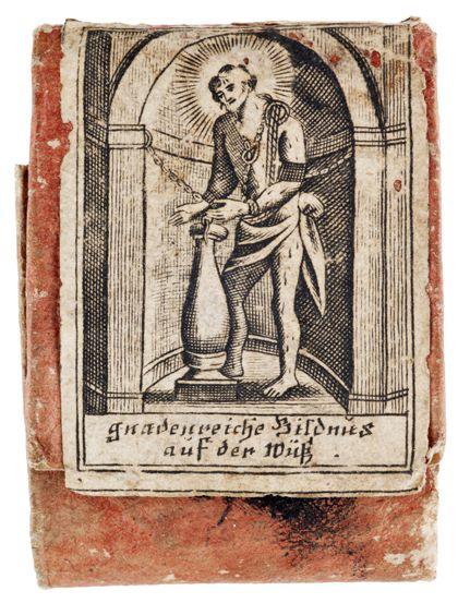 Geschlossener Schutzbrief mit gedruckter Heiligendarstellung und Segensspruch
