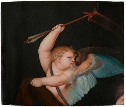 Fragment einer Bildtafel mit der Darstellung des Amorknabens, der seinen Liebespfeil so vehement schwingt, dass vor dem dunklen Hintergrund eine feurige Leuchtspur erscheint.