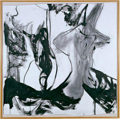 Schwarze Linien und unregelmäßige graue und schwarze Bildfelder vor weißem Hintergrund