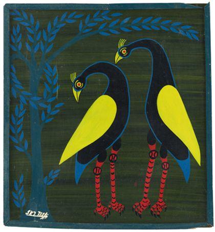 Quadrat- oder Tingatingabild, das zwei Vögel mit Baum zeigt.