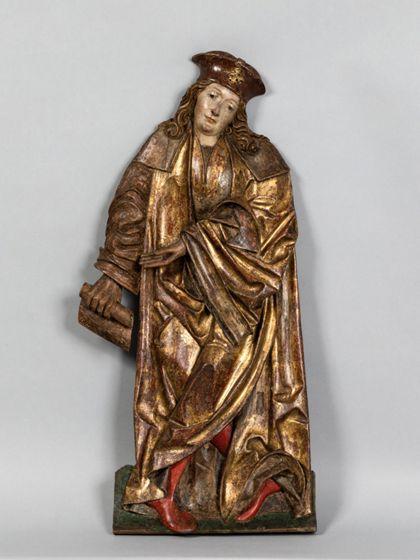 Gefasstes Flachrelief eines stehenden männlichen Heiligen mit einer Schriftrolle.
