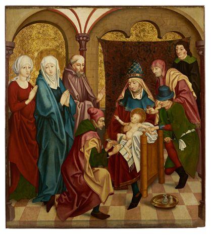 Der Hohepriester hält Christus in seinem Schoß während dieser beschnitten wird.