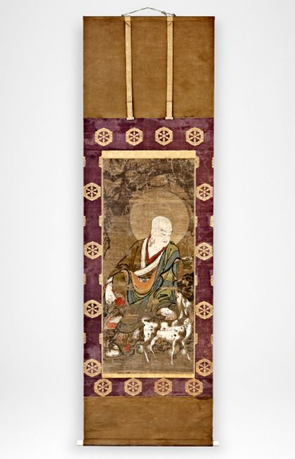 Scroll Painting Saint Rahula (Arhat) with mountain goat