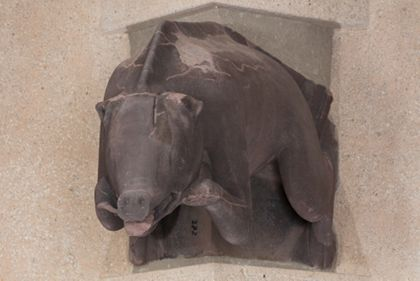 Münsterbauhütte, Freiburg Gargoyle: Pig representing one of the Seven Deadly Sins - Gluttony