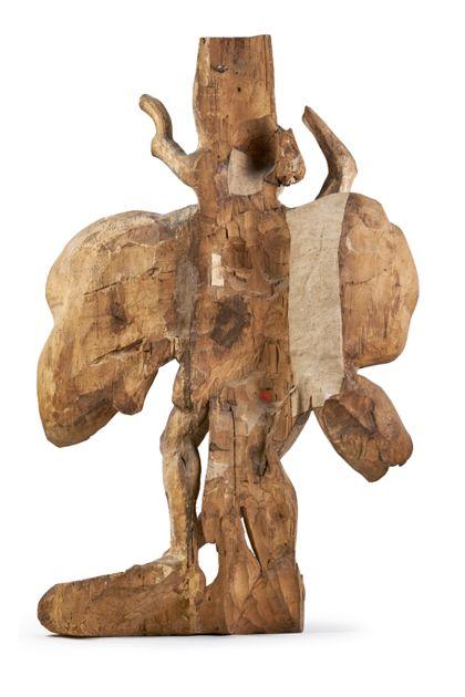 Figur des Heiligen Sebastian, der an den gemarterten Jesus erinnert, Rückseite.