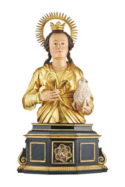 Büste der Heiligen Agnes für die Freiburger Zunft der Gerber.