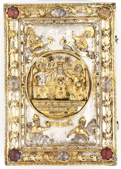 Book cover Two book covers depicting the Crucifixion of Christ and the Coronation of the Virgin