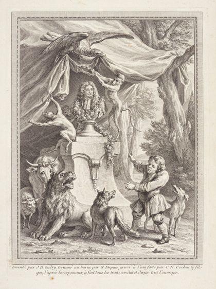 Frontispiz zeigt die Büste La Fontaines im Wald auf einem Sockel, um den sich der antike Fabeldichter Äsop und mehrere Tiere versammelt haben.