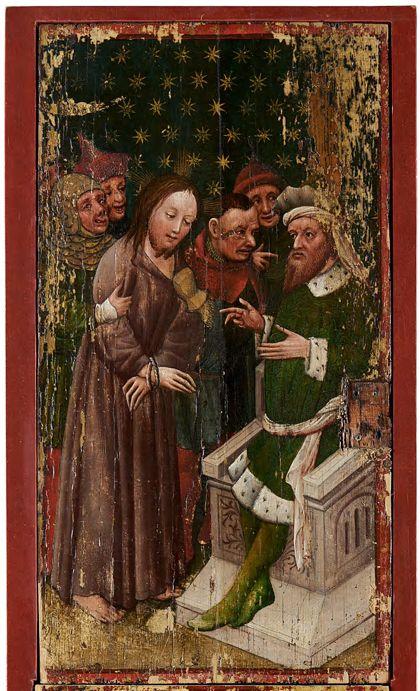 Bildtafel des Staufener Altars: Christus vor Kaiphas.