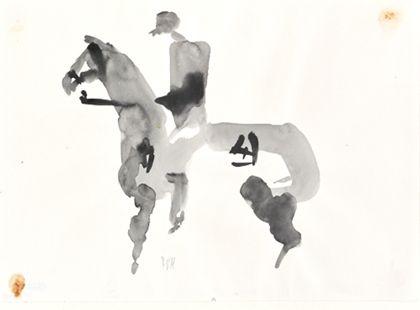Tuschpinselzeichnung eines stehenden Pferdes mit Reiter, nach links