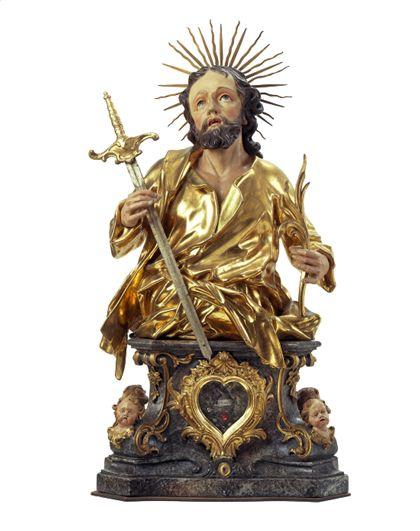 Teils vergoldete Büste des Heiligen Artemisius auf einem Sockel für die Freiburger Zunft der Metzger.