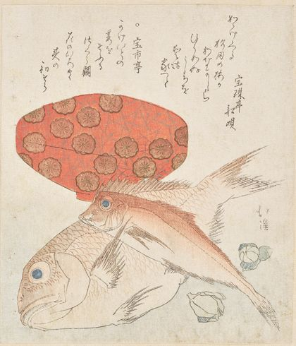 Totoya Hokkei New Year's Print with Fish and a Lacquer Bowl