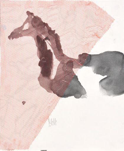 Aquarell mit Umrisszeichnung eines Pferdetorso, nach links gerichtet