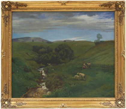 Sommerliche Wiese mit Bach, darauf zwei Schafe und ein junges Paar. Golden gerahmt.