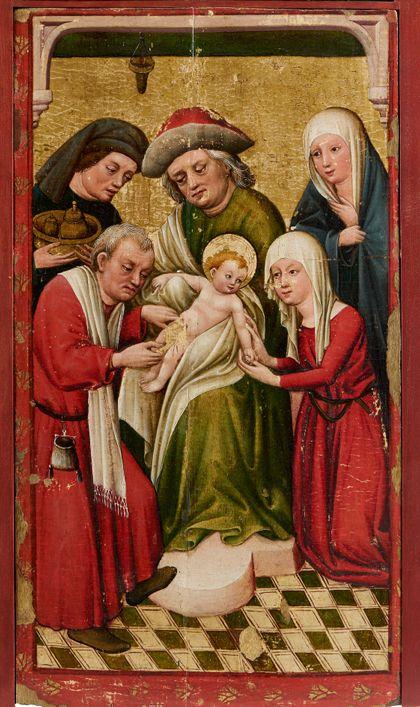 Bildtafel des Staufener Altars mit der Darstellung der Beschneidung Christi.