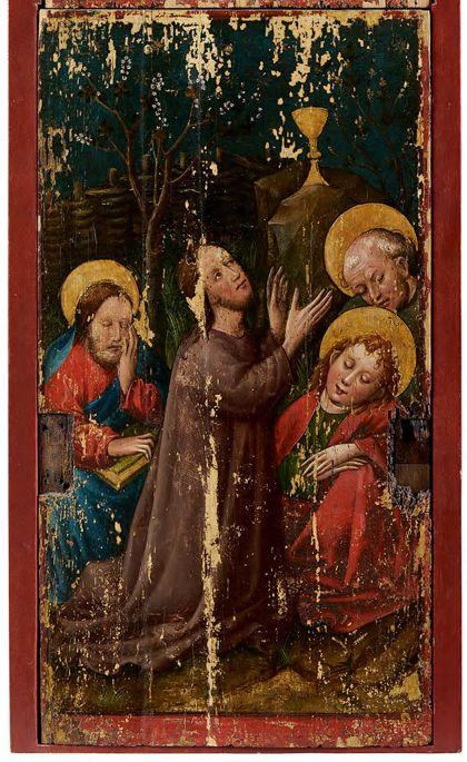 Bildtafel des Staufener Altars mit der Darstellung Christi am Ölberg.