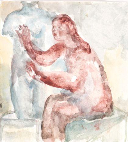 Aquarell eines sitzenden weiblichen Aktes mit erhobenen Armen, nach links zu einem Torso gerichtet