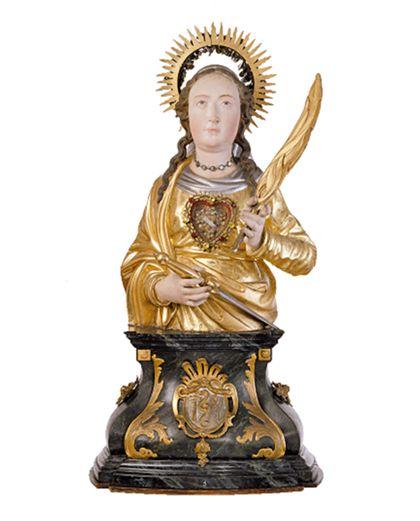 Teils vergoldete Büste der Heiligen Cassiana auf einem Sockel für die Freiburger Zunft der Schmiede.