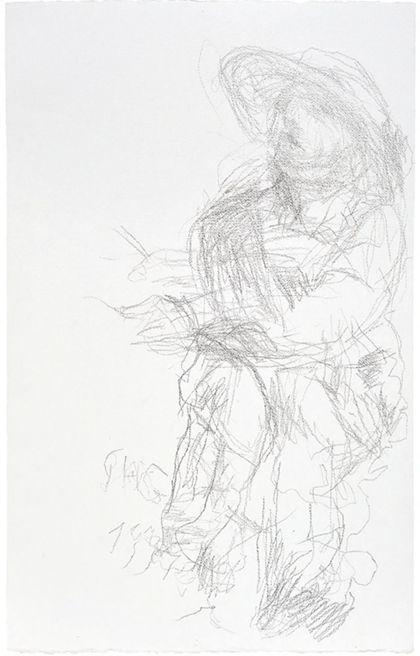 Bleistiftzeichnung einer nach links gerichteten menschlichen Gestalt, in lockerem Duktus skizziert