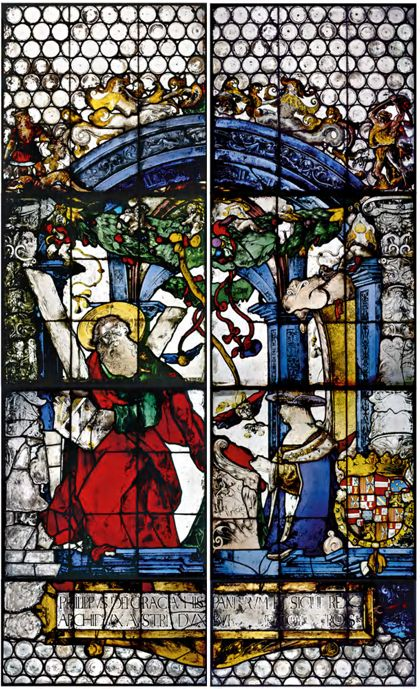 """Windows """"Imperial Windows"""": Maximilian I and Philip the Handsome with Saints George and Andrew"""