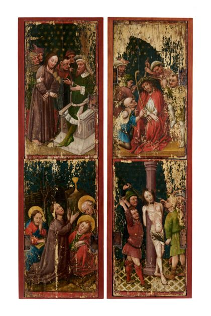 Altarflügel mit Szenen der Passion Christi, links Christus vor Kaiphas und Christus am Ölberg, rechts Verspottung und Geißelung Christi.